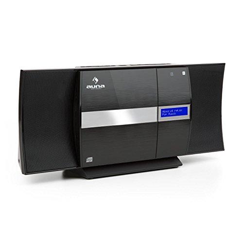 auna V-20 - Kompaktanlage mit CD-Player und DAB+ Tuner, Black Edition, AUX-IN, Radiospeicherplätze, Bluetooth, Flat-Design, NFC, USB, MP3, LED-Display mit Uhrzeitanzeige, schwarz