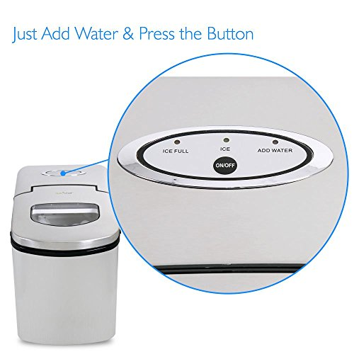 NutriChef Upgraded Digital Portable Ice Maker Machine - Heavy Duty Electric Stainless Steel Stain Resistant Countertop and Built in Freezer Over Sized Bucket w/ LED Light Easy Touch Button PICEM25