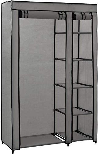 KKCD Armario de Lienzo con gabinete de Tela de Puerta con 5 cuadrícula 2 Gris 110x45x175 cm,Grey
