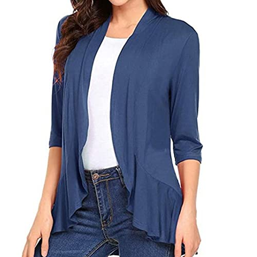 Women's Cardigan Long Sleeve Waterfall Knitted Coat Light Airy Long Sleeve Jacket Perfect for Autumn - Blue - M