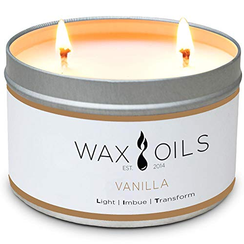 Wax and Oils Soy Wax Aromatherapy Scented Candles (Vanilla) 16 Oz.