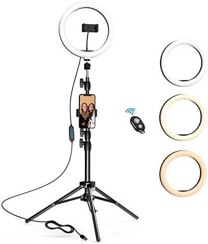 10 2 inch Selfie Ring Light with Tripod Stand 2 Phone Holders LETSCOM Dimmable Led Beauty Camera product image