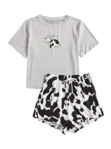 DIDK Conjunto de pijama de dos piezas para mujer, diseño de dibujos animados Gris Vaca XS