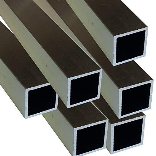 Alu Quadratrohr 20 x 20 x 1,5 mm eloxiert EV1 E6 Voliere Vierkantrohr Aluminium AlMgSi0,5 Rechteckrohr Profil Aluprofil Rohr (50 cm (2 Stck.))