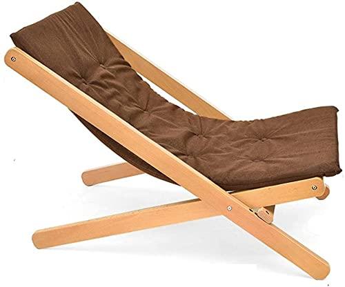 RSTJ Sillón reclinable de Madera Silla de Cubierta tumbonas tumbonas Dormitorio Sala de Estar balcón Oficina sillón sillón Silla de Respaldo jardín Patio terraza reclinable (Color : Brown)