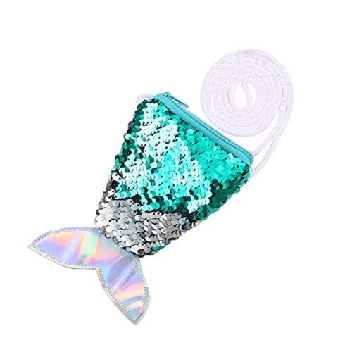 Meerjungfrau Schwanz Pailletten Geldbörse Crossbody Taschen Sling Geld Ändern Kartenhalter Geldbörse Tasche Geschenke für Frauen Mädchen (hellgrün)