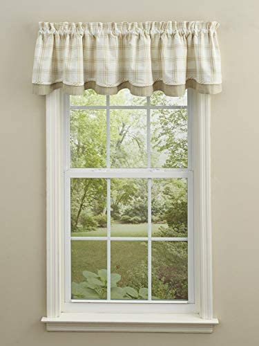 Park Designs Max 47% OFF Cocoa Butter Plaid Lined 72'' x Layered Valance 16' Direct stock discount