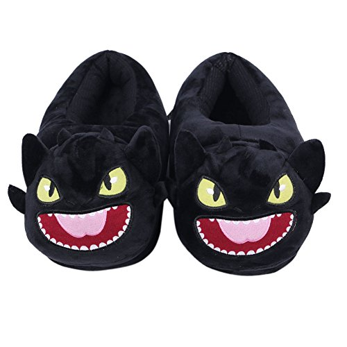 LYFF Ohnezahn Baumwolle Hausschuhe Lustige Persönlichkeit Schwarz Plüsch Schuhe Warm und Weich