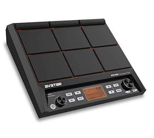 HXW PD705 Percussion Pad Compact 9-Trigger Sampling Multipad Tabletop All-in-one Electric Drum Set With 600+ Sounds, Built-in Metronome, Effecter, Looper