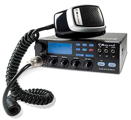 Midland ALAN 48 Plus Multi B CB Radio Ricetrasmittente Veicolare Avanzato Multibanda, con Microfono 6 Pin, Display Multifunzione, Scan, Dual Watch, RF Gain, Squelch e Mic Gain
