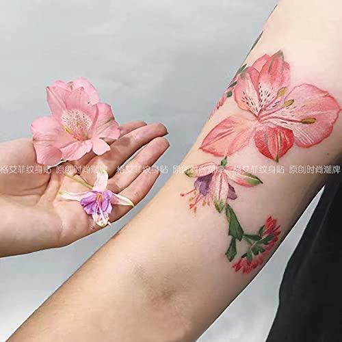 DSSJ Pegatinas de Tatuaje de Flores de Acuarela Originales a Prueba de Agua para Mujer, pequeño tótem Fresco, Tatuaje de simulación Sexy, Cicatriz