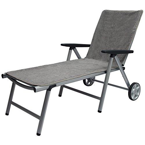 Beautissu XL Handtuch für Liegestuhl – Marbella Frottee Schonbezug Sonnenliege 70x200cm – Weiche Frottee Auflage Gartenliege mit Antirutschfunktion Grau