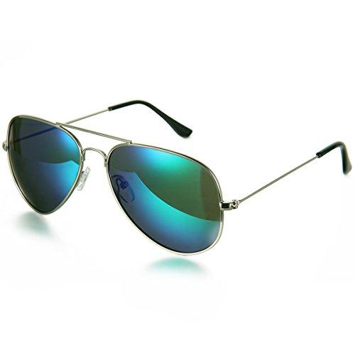 Aroncent Gafa de Sol Polarizada UV400 Lente Clásico de Resina Metal Protección de Ojos para Carreras, Viaje, Conducción, Golf, y Actividades Exteriores para Hombre Mujer Unisex (Verde)
