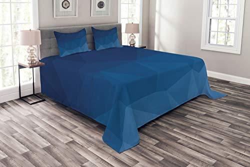 ABAKUHAUS Blau Tagesdecke Set, Abstract Blue Ombre Origami, Set mit Kissenbezügen Klare Farben, für Doppelbetten 220 x 220 cm, Kobalt-Blau-Violett-Blau