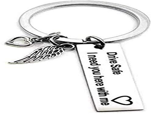 Schlüsselanhänger Anlising Geburtstagsgeschenk Schlüsselanhänger Drive Safe Schlüsselanhänger Pärchen Schlüsselanhänger Warm Keychain Fahrt Sicher Schlüsselanhänger mit Flügelanhänger (2 Stück)