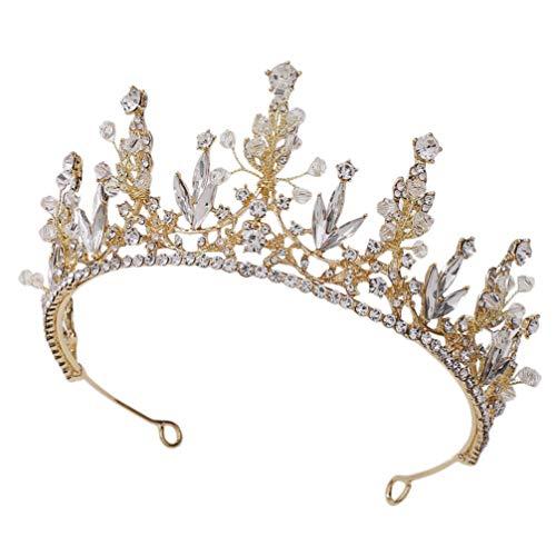 Beaupretty Couronne de Mariée Fleurs Royales Princesse Couronne de Mariage Strass Diadèmes Bandeau Accessoires de Cheveux de Fête pour Les Chapeaux D'anniversaire de Fête de Mariage Or