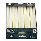 Hofer Velas para candelabros Ø 2,3 x 25 cm – 30 unidades – Velas cónicas profesionales antigoteo de color natural marfil, duración aprox. 7 h, paquete de 1 caja de 30 unidades