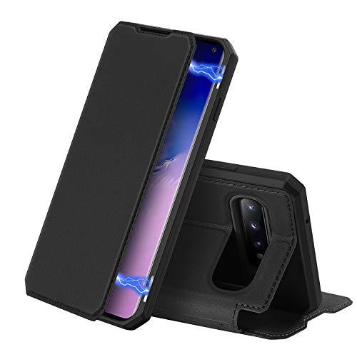 DUX DUCIS Hülle für Samsung Galaxy S10, Premium Leder Magnetic Closure Flip Schutzhülle handyhülle für Samsung Galaxy S10 Tasche (Schwarz)