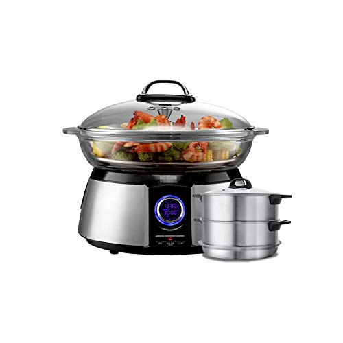 NAFE Electric food steamer, 220V multi-layer electric steamer, 32CM multi-function large-capacity steam cooker seafood electric hot pot, five-level power, stainless steel base-B