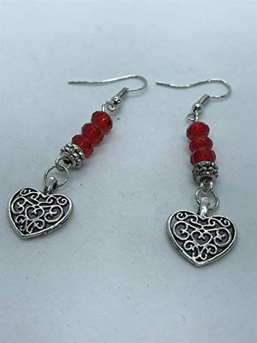 silver metal heart with red beads earrings by Susan Craker