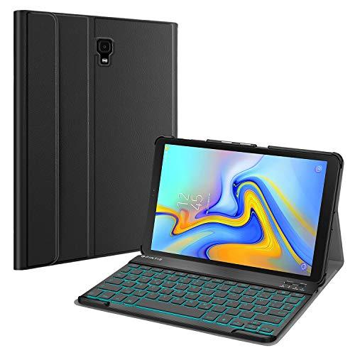 Fintie Tastatur Hulle fur Samsung Galaxy Tab A 105 SM T590T595 Schutzhulle mit Hintergrundbeleuchtung in 7 Farben magnetisch Abnehmbarer drahtloser Deutscher Bluetooth Tastatur Schwarz