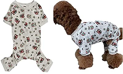 Lanyarco Lovely Small Pet Dogs Pajamas Clothes Snowman Snowflake Red 95% Cotton 5% Lycra