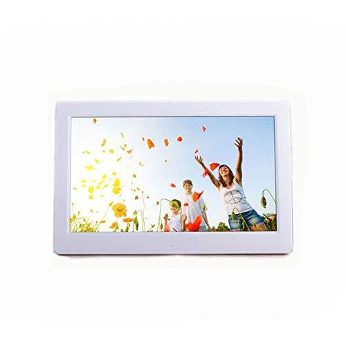 AZCX 15-Zoll-Breitbild-Digitalbilderrahmen, HD 1280 * 800 LED-Bildschirm/Kalender/Uhr/Boot Spielen automatisch Fernsteuerungs-Foto- / Musik- / Video-Player,White