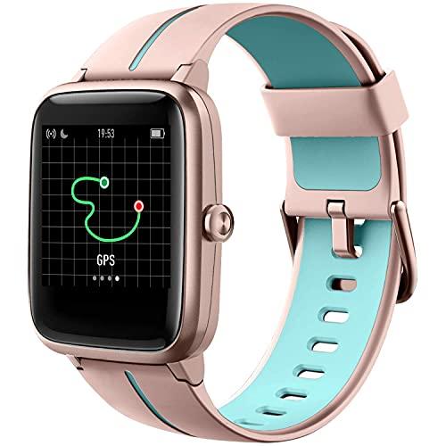Reloj inteligente GPS Running Relojes para hombres mujeres y niños Fitness Tracker Monitor de ritmo cardíaco 5ATM impermeable, Smartwatch compatible con teléfonos iOS Android (rosa GPS)