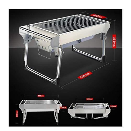 41IqUQb7K5L - Außen Barbecue im Freien Holzkohle-Grill, Schreibtisch Edelstahl Folding BBQ Grill Camping Gartengrill Grillzubehör Outdoor-Party DYWFN