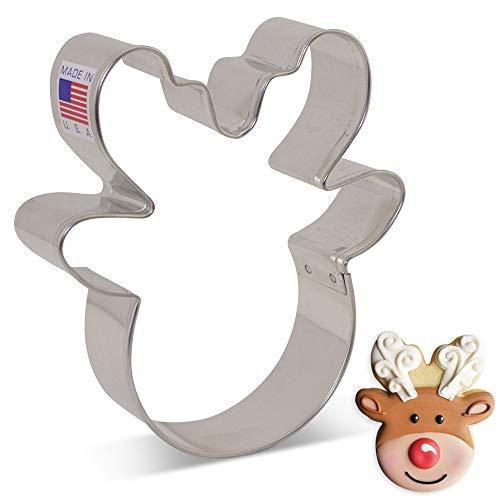 Ann Clark Cookie Cutters Reindeer Head/Face Cookie Cutter by Flour Box Bakery, 4'