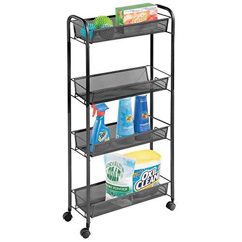 mDesign Carrito con Ruedas para lavadero – Compacto Mueble de lavadero para Guardar detergente, quitamanchas, etc. – Práctico...