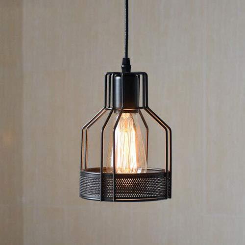 MADBLR7 Lámpara Colgante de Metal Industrial Retro Americana, lámpara de Techo Tipo Jaula Negra Vintage para Bar, Comedor, Estudio, Cocina, Dormitorio