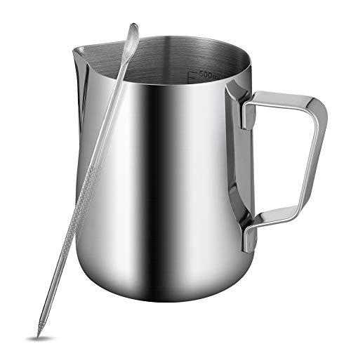 Xinzistar Milchkännchen Edelstahl 600ml Milchkanne Aufschäumer Tasse Milk Pitcher mit Messung Mark mit Latte Art Pen, Barista Zubehör für Cappuccino Espresso Kaffee