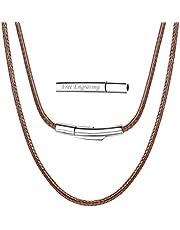 ChainsPro Cordino per collana in pelle, corda cerata intrecciata 2 / 3mm, catena di ricambio per ciondolo,16''-30''(nero/marrone/rosso/bianco/Rosa)