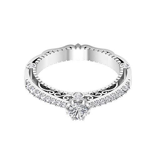 Anillo de metal mixto con certificado de moissanita de 0,68 quilates, clásico para mujer, DE-VS1, anillo de boda con piedras preciosas de claridad de color, 14K Oro blanco, Moissanita, Size:EU 60