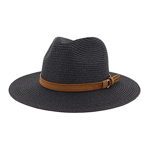 QQSA Nuevo Sombrero de Verano Sombreros de Paja Sombrero de Paja para Hombres Mujeres Hebilla de Cuero cinturón Ancho Alba Panama Hombres Gorras Sombrero Sombrero Sombrero Sombrero Jazz taps