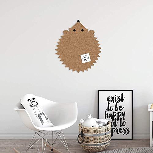 Zibros | Prikbord kurk IGEL, decoratieve natuurkurk, prikbord kantoor kantoor, kinderprikbord, muurdecoratie, 3D-effect, verwijderbare stickers, XL formaat 45 x 60 x 2 cm