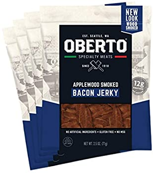 Oberto Specialty Meats Applewood Smoked Bacon Jerky 2.5 Ounce  Pack of 4
