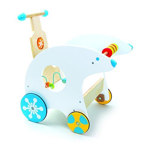 small foot 4758 Lauflernwagen Eisbär mit Gummibereifung, multifunktionaler Spielspaß mit Motorikschleife