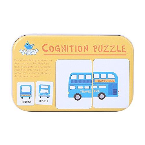 Vehículo/Animal/Frutas/Productos Vivos Formación De Aprendizaje Tarjetas De Memoria Bebé Early Educational Anti-Tear Matching Puzzle Tarjetas Cognitiva (Vehicle)