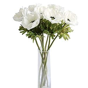 MUFEN 7PCS Artificial Anemone Flowers Real Touch Silk Flower Wedding Bride Bouquet DIY Home Decor
