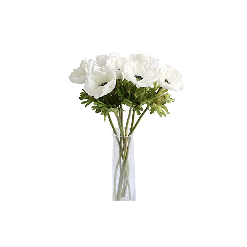 silk flower arrangements mufen 7pcs artificial anemone flowers real touch silk flower wedding bride bouquet diy home decor