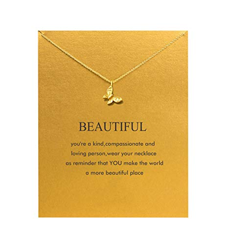 Baydurcan Butterfly Necklace with Message Card Gift Card (Gold Butterfly)