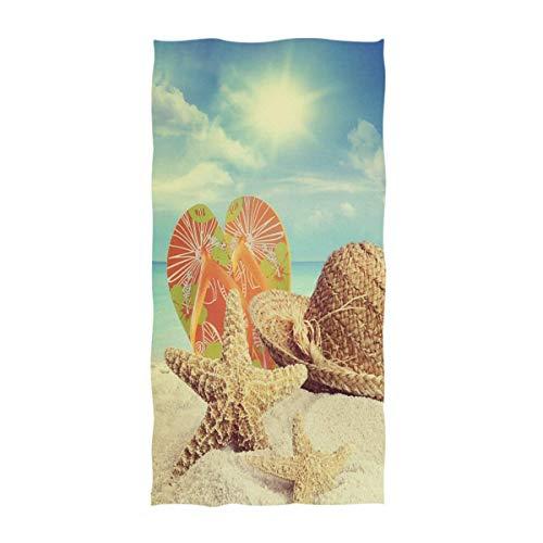 OCEAN AN Hermosa Playa de Arena de Verano en 3D con Sombrero de Paja y Chanclas de Estrella de mar Toallas de Mano Grandes y Suaves (15.7'x27.5)