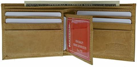 Marshal Wallet Men s Leather Wallet Euro Traveler Extra Capacity Bifold Center Flip ID Window product image