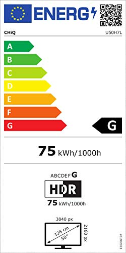 CHiQ Televisor Smart TV LED 50 Pulgadas 4K UHD, HDR 10/HLG, WiFi, Bluetooth (Solo Auriculares y Altavoces), Youtube, Netflix, Prime Vídeo, 3 x HDMI, 2 x USB - U50H7L