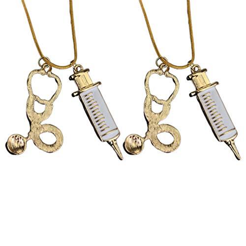 PRETYZOOM - Collar de aleación con estetoscopio médico, para médico, para enfermera, regalo de souvenir, 2 unidades