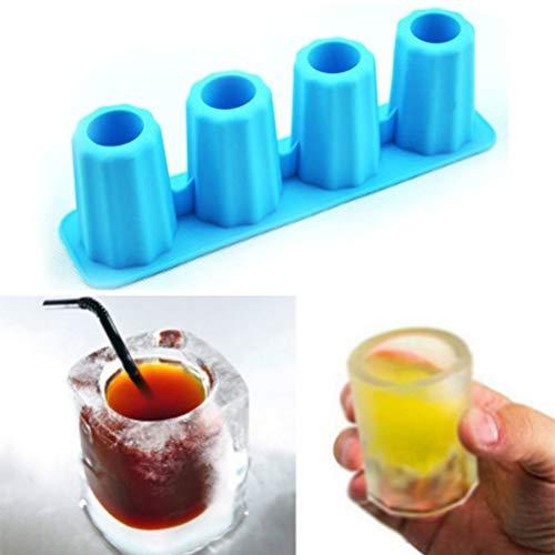 NNGT Stampo per cubetti di Ghiaccio 3D, Stampo per cubetti di Ghiaccio 3D Creativo Congelare 4 Tazze Bicchieri Stampo Vassoio Summer Party Kitchen Bere Bar Strumenti in Vetro