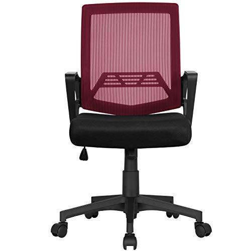 Yaheetech Bürostuhl Ergonomischer Drehstuhl Schreibtischstuhl netzdesign Höhenverstellung und Wippenfunktion mit Rollen Weinrot