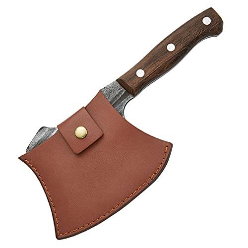 Xizdth Hammer Forged Kitchenn Cuchillo Chop Hueso Camping Survival Hacha 5CR15MOV Acero Inoxidable Cuchillo de Butcher Cuchillo de ébano (Color : Knife with Cover)